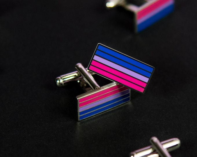 Silver-Plated Bisexual Pride Cufflinks