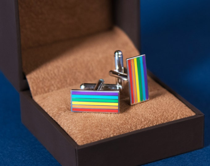 Silver-Plated Rainbow Pride Cufflinks