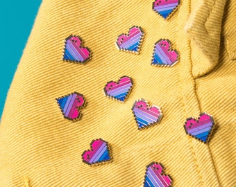 Limited Edition: Bisexual Pixel Heart Pins