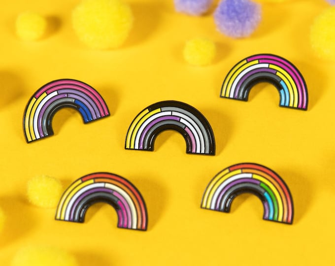 Non-Binary Rainbow Enamel Pins (Variations)