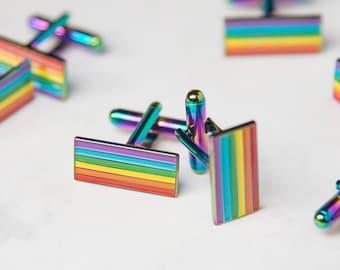 Iridescent Rainbow-Plated Pride Cufflinks