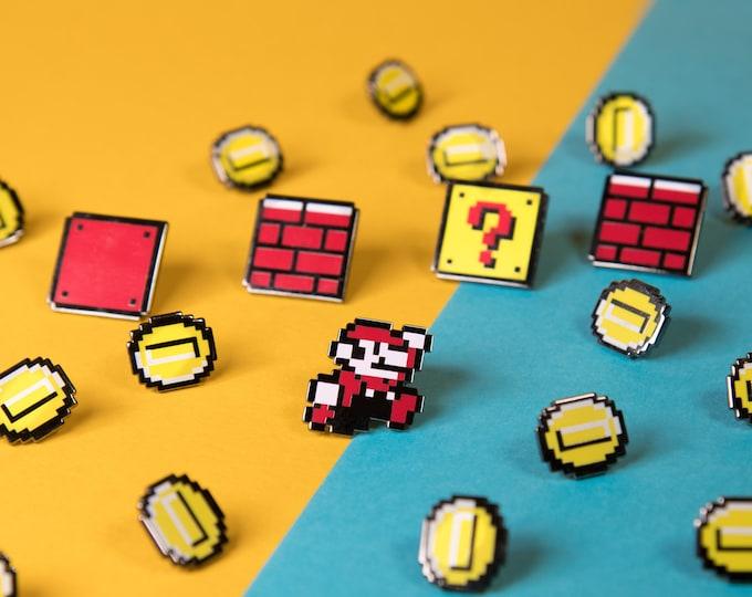 Pixel Mario Enamel Pins