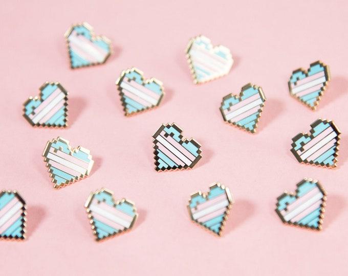 Transgender Pixel Pride Heart Pins