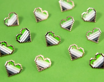 Aromantic Pixel Pride Heart Pins