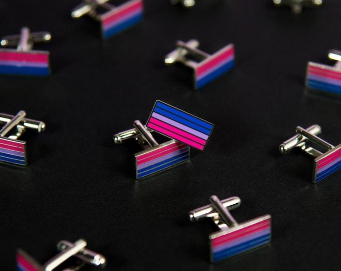 Silver-Plated Bisexual Pride Cufflinks