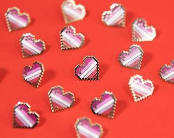 Lesbian Pixel Pride Heart Pins