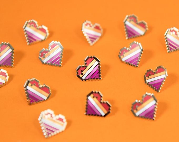Community Lesbian Pixel Pride Heart Pins