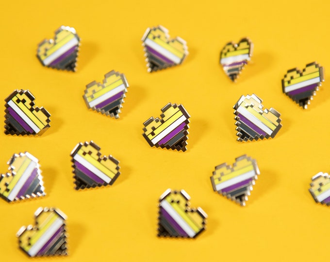 Non-Binary Pixel Pride Heart Pins