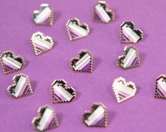 Asexual Pixel Pride Heart Pins