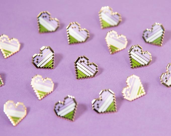 Genderqueer Pixel Pride Heart Pins