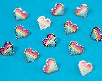 Pansexual Pixel Pride Heart Pins