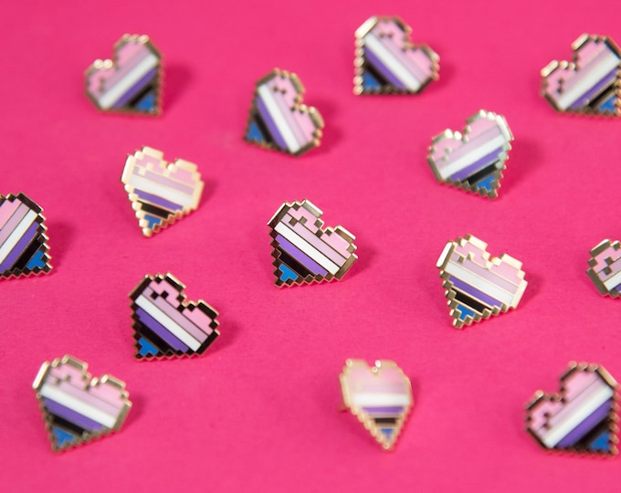 Genderfluid Pixel Pride Heart Pins