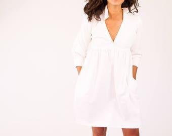 White Herringboned Linen dress