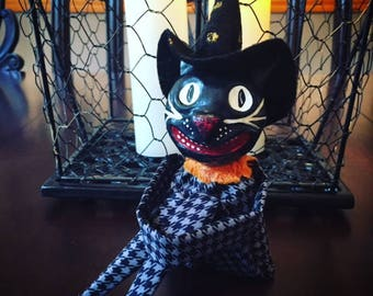 Vintage Inspired Black Cat Doll