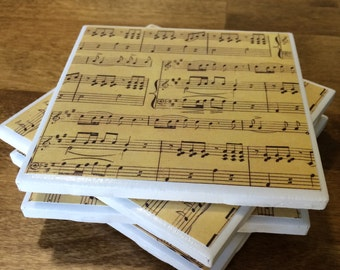 Musical note tile coasters