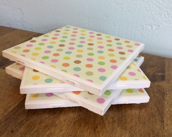 Small polka dot multicolored coasters