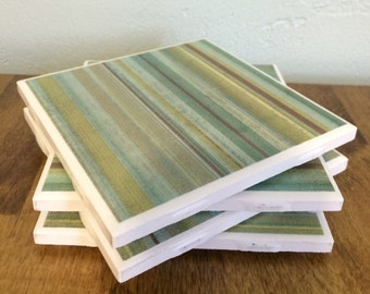 Blue green stripe tile coasters