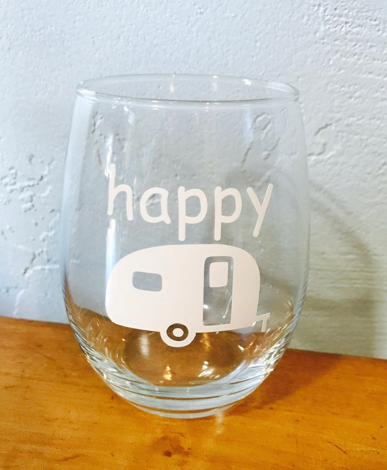 f3654c872f6 Happy Camper stemless wine glass-Christmas gift-Birthday gift-Best Friend  gift-Camping gift-Glamping-Camping glass-Cups for Camper
