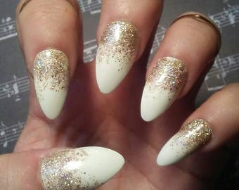 Stiletto Almond White Nails With Gold Glitter Glossy Or Matte Acrylic Press On Glue False Fake Wedding Prom