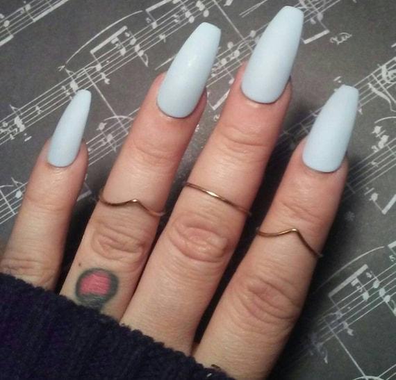 Matte Light Blue Coffin Nails Pastel Blue Press/Glue on Long