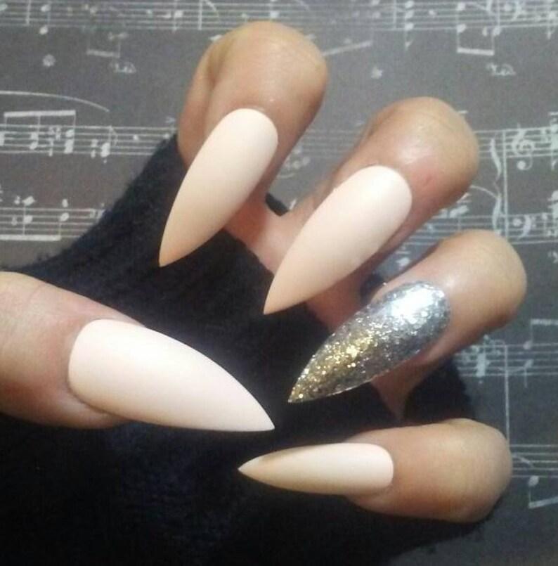 4ddf9a016837 Nude White Matte Stiletto Nails   Silver Glitter Long or