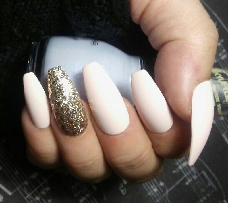 Nude White Cream Coffin Nails W Gold Glitter Accent Matte Etsy