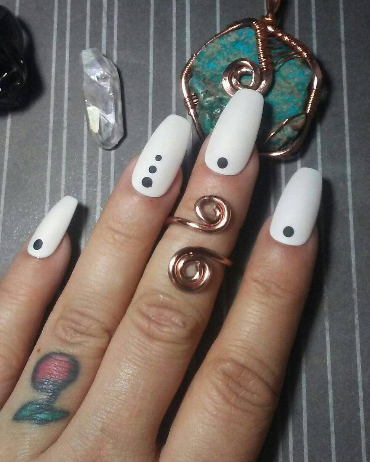 Coffin Nails Matte White Amp Black Dots Acrylic Press Glue On Etsy
