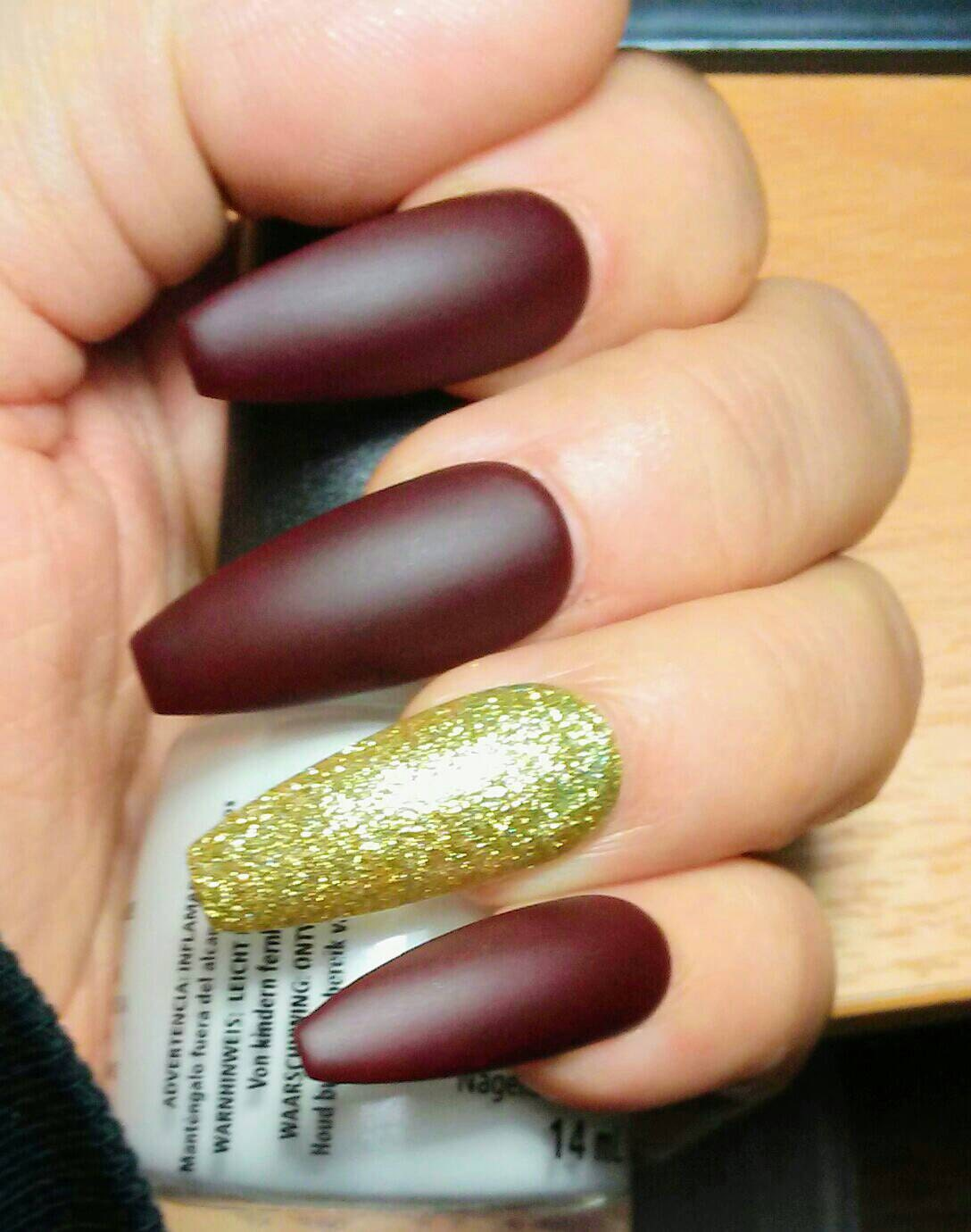 Long Matte Coffin Nails Burgundy Maroon & Gold Glitter, Red Press on ...