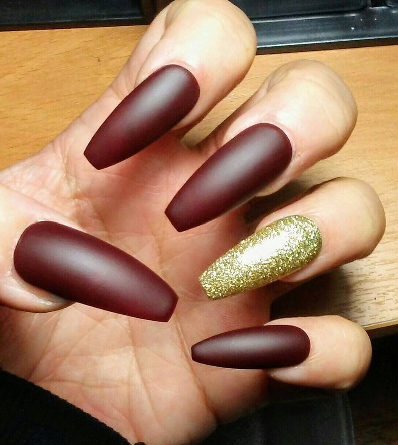 Long Matte Coffin Nails Burgundy Maroon Gold Glitter Red Etsy