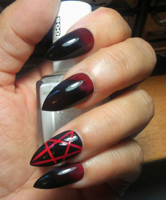 Gothic Stiletto Pentagram Nails Black & Red Long or Short | Etsy