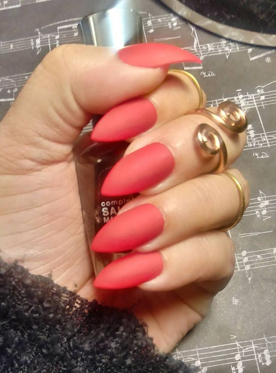 Matte Red Stiletto Nails, Lipstick Red Acrylic Press on Nails, Sexy Glue on  Nails, Long or Short, Coffin, Square, Oval, False Fake Nails
