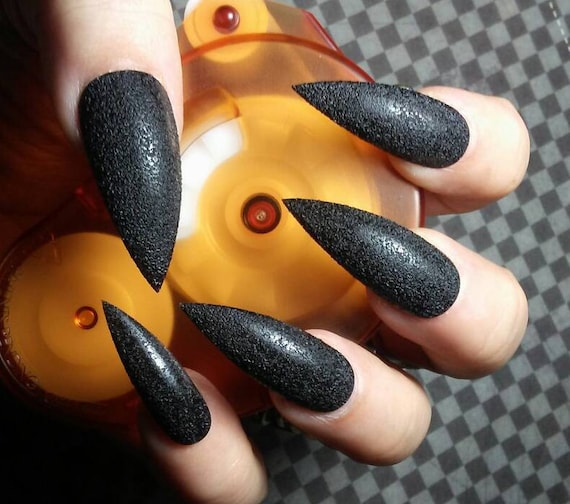 Gothic Black TEXTURED Stiletto Nails, Halloween Costume Cosplay Nails,  Witchy Sexy Acrylic Press on Glue on Nails, Goth False Fake Nails