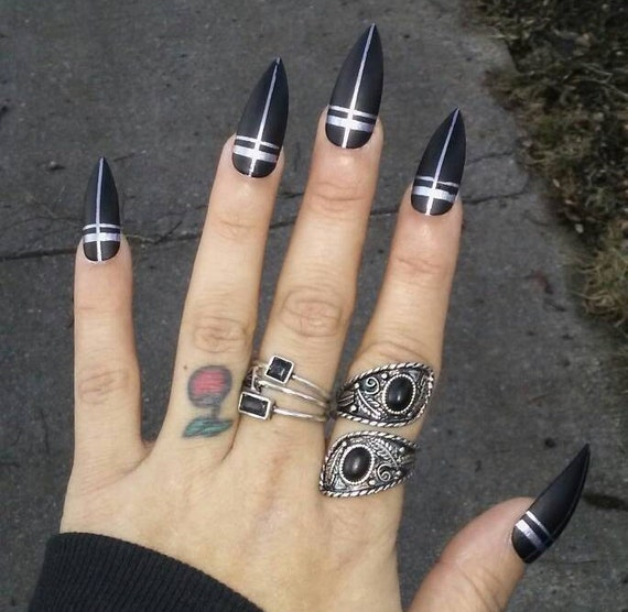 Gothic Long Black Matte Stiletto Nails Silver Crosses | Etsy