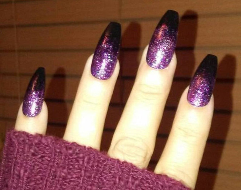 Black Coffin Nails W Pink Purple Glitter Long Or Short Acrylic Press On Nails Glue On False Fake Nails Stiletto Square Oval Matte