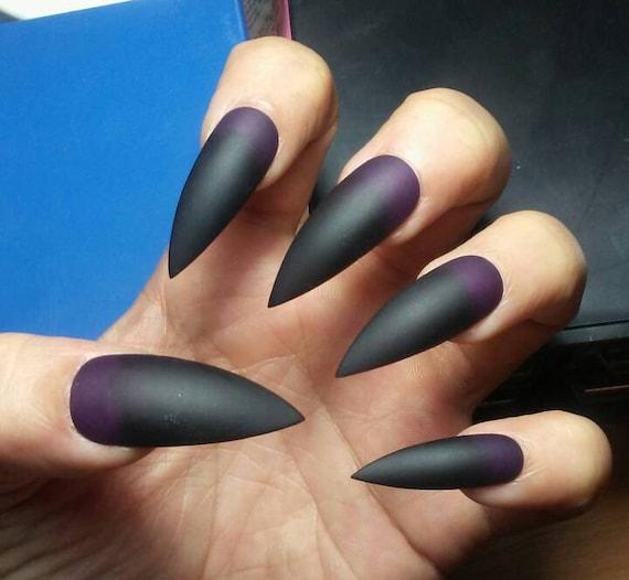 Matte Black Purple Stiletto Nails Gothic Press On Nails Etsy