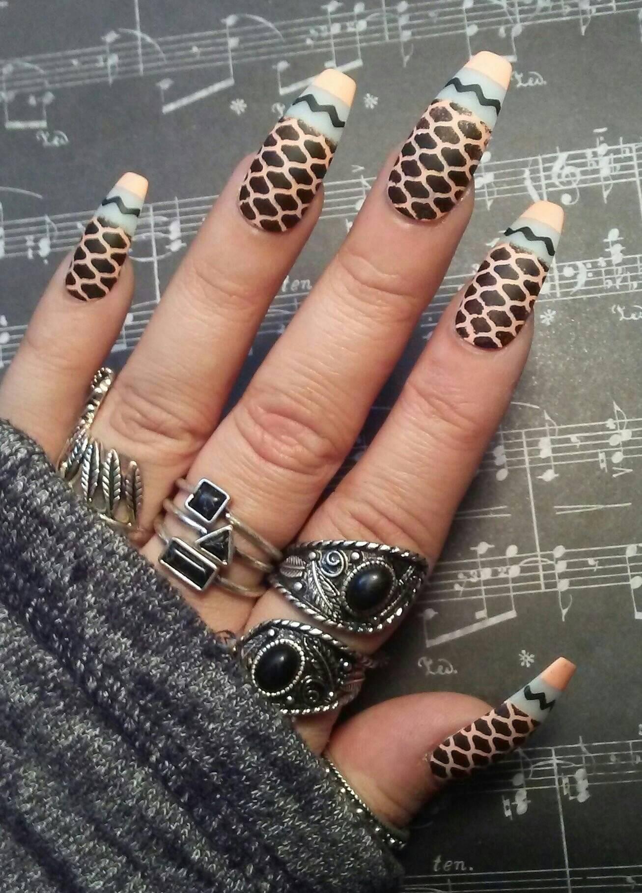 Coffin Nails Matte Black/Peach Fishnet Design * Gothic/Goth ...