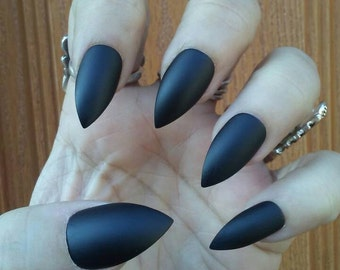 Matte Black Stiletto Nails, Gothic Goth Black Press on Glue on Nails, Acrylic False Fake Nails, Coffin, Square, Oval, Long or Short