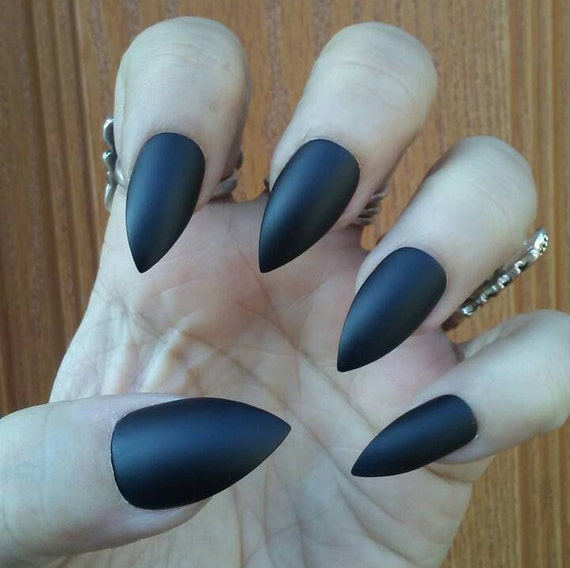 Matte Black Stiletto Nails Gothic Goth Black Press on Glue on | Etsy