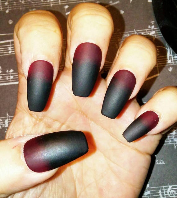 Matte Black to Red Coffin Nails, Gothic Press on Nails, Acrylic Glue on  Nails, Stiletto, Square, Oval, Long or Short, Goth, Fake False Nails
