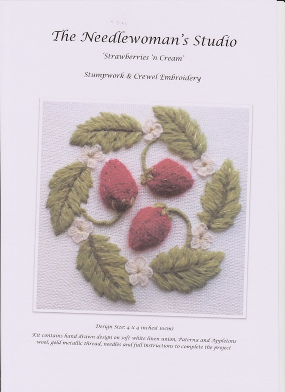 a crewel and stumpwork embroidery kit for beginners /'Strawberries /'N Cream/'
