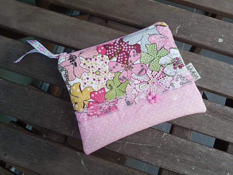 25167fbba85ef Rosa Mini Stoff Make-up Tasche Münze Tasche Wallet Stoff