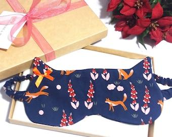 Fox Print Sleep Mask, Organic Cotton Sleep Mask, Cat Shape Blindfold, Gift for Her, Christmas Gift, Stocking Filler
