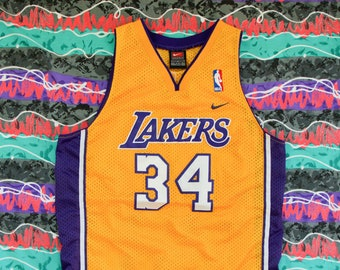 7a524caf3 Vintage LA Lakers Shaquille O Neal  34 Home Jersey Nike Team Size Youth L  +2 Length Shaq Sewn On 90s