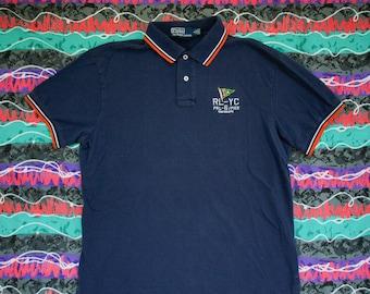 6b13a3c8a 90s Polo Ralph Lauren Yacht Club Custom Fit Shirt Size L PRL Pier RL67- Sale  - Vintage