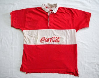 c33c3dde Vintage Coca Cola Brand Short Sleeve Rugby Polo Shirt Size L Broken In  Colorblock Spellout 80s