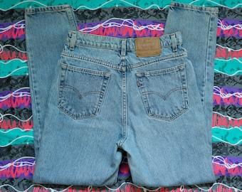 8d5d8ab1 Vintage Levi Strauss 521 Tapered Fit Denim Jeans Junior Size 12 Medium  Light Wash Skinny High Waist Mom Jeans 90s
