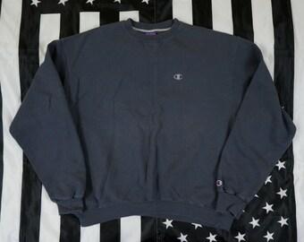 Vintage 90s Champion Sportswear Logo Crew Neck Sweatshirt Size XL Gray
