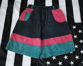 Vintage 90s Graffiti Sport Striped Cotton Shorts Size M 26/28 W Colorblocking Baggy Skate Hip Hop