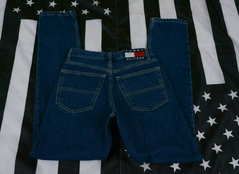 90c40820f Vintage Tommy Hilfiger Classic Jean Size 5/32 (Women's) Big Flag Spellout  Tapered 90s