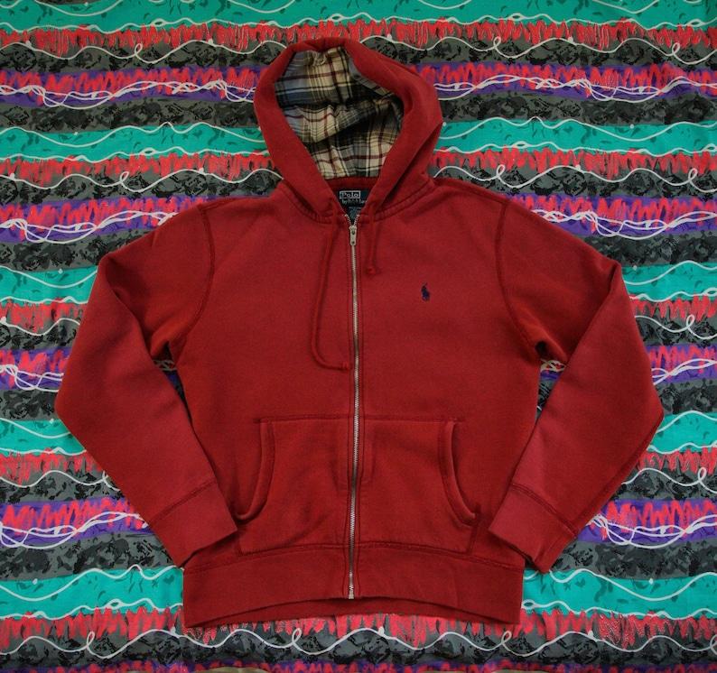 959a87b1 Vintage Polo Ralph Lauren Full Zip Hooded Sweatshirt Size M Navy Pony Plaid  Hood Lining PRL RL67 Hoodie 90s